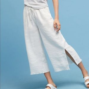 Cropped wide leg drawstring pants